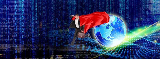 Wall Mural - super man and internet technologies