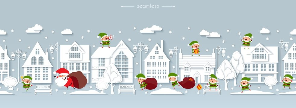 Seamless Christmas street, paper buildings, funny Santa Claus and elves, vector