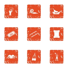 Dancer icons set. Grunge set of 9 dancer vector icons for web isolated on white background