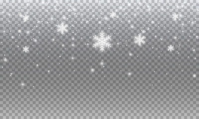 Fotomurales - Snow. Vector transparent realistic snow background design