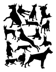 Doberman dog animal silhouette. Good use for symbol, logo, web icon, mascot, sign, or any design you want.