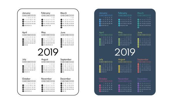 2019 pocket calendar, first day sunday, vector illustration