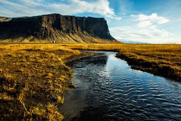 Beautiful Iceland landscape. Wonderful Icelandic landscape. Hills, mountains and dramatic sky.