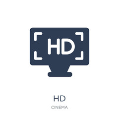 Hd icon. Trendy flat vector Hd icon on white background from Cinema collection