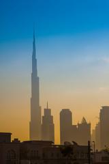 Dubai city skyline in the morning, sunrise