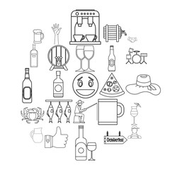 Live beer icons set. Outline set of 25 live beer vector icons for web isolated on white background
