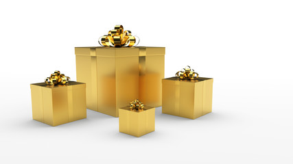 golden gift boxs with golden ribbon bow on the light background