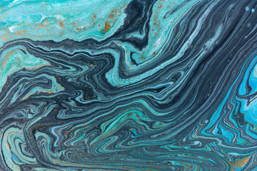 Marble abstract acrylic background. Blue marbling artwork texture.