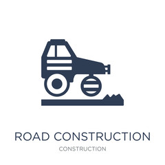 road construction icon. Trendy flat vector road construction icon on white background from Construction collection