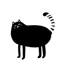 Black and white portrait of fat cat.