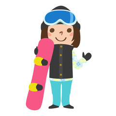 女の子のイラスト。ウィンタースポーツのスノーボードをしようとしている。