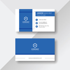 Business Card with Blue Details