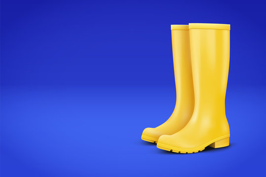 Autumn Advert Illustration. Pair of yellow rubber rain boots on blue background. Season sale and marketing. Shopping poster with copy space in trendy color. Vector