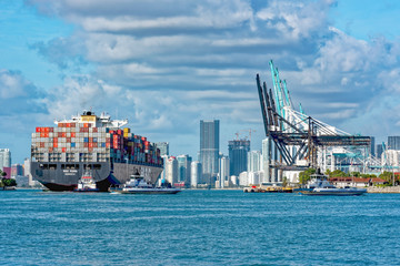 Busy port with huge container ship