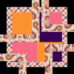 Abstract batik airborne geometric squares. For textile printing.