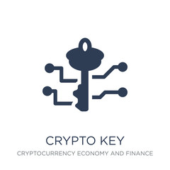 crypto key icon. Trendy flat vector crypto key icon on white background from Cryptocurrency economy and finance collection