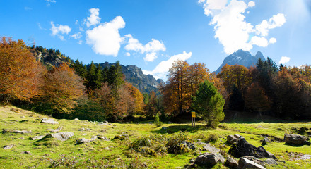 view of Pic Du Midi Ossau, France, Pyrenees in autumn
