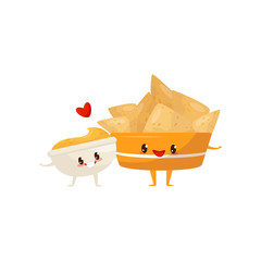 Nachos and spicy sauce are friends forever, fast food menu funny cartoon characters vector Illustration on a white background