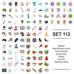 Vector illustration of weapon,water,filtration,system,viruses bacteria virtual reality vikings vet clinic vegetarian dishes icon set.