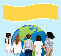 Diverse kids protecting the world for an environment awareness campaign