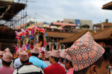 Local Nepali people are having a festival around Patan Durbar Square