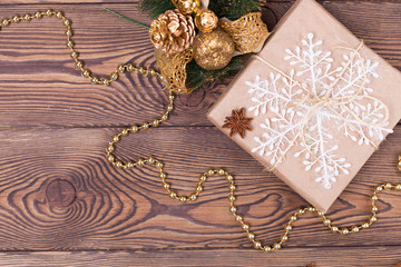 Christmas and New Year holiday background. Christmas decor on a wooden table. Flat lay, copy space