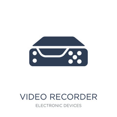 Video recorder icon. Trendy flat vector Video recorder icon on w