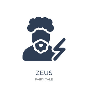 Zeus icon. Trendy flat vector Zeus icon on white background from Fairy Tale collection