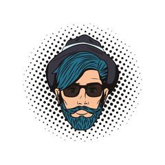 Pop art hipster face