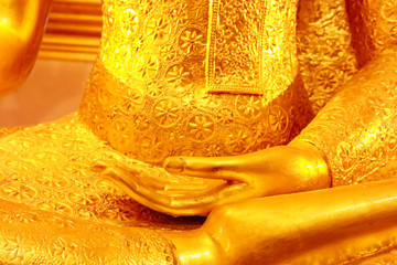 Hand of buddha statue for religious abstract background