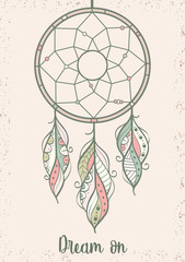 Hand drawn illustration of dream catcher, vector illustration with colorful ethnic feathers, poster