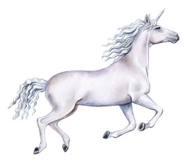 White running unicorn isolated on white background. Horse in motion. White Horse on the run. Watercolor. Illustration. Template. Clipart. Template. Hand drawing. Close-up