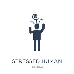 stressed human icon. Trendy flat vector stressed human icon on white background from Feelings collection