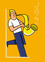 cartoon of a young white man playing on saxophone vector illustration