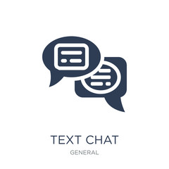 text chat icon. Trendy flat vector text chat icon on white background from General collection