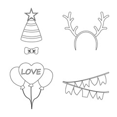 Vector illustration of party and birthday logo. Set of party and celebration vector icon for stock.