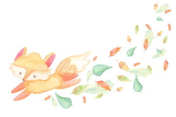 cartoon greeting card template. watercolor illustration. autumn, berries harvest, leaves, baby foxes. isolated on white background