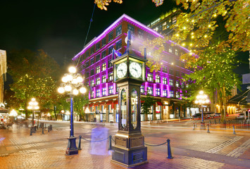 Night view of Historic Steam Clock in Gastown Vancouver,British Columbia, Canada