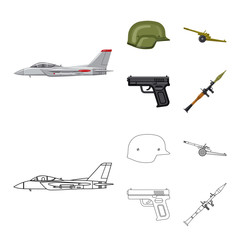 Vector illustration of weapon and gun sign. Collection of weapon and army vector icon for stock.