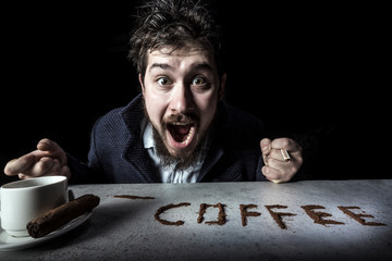 portrait of cheerfully rejoicing coffee man on black background, concept coffee is a drug