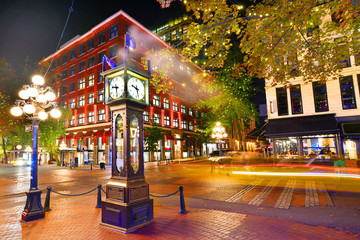 Night view of Historic Steam Clock in Gastown Vancouver,British Columbia, Canada Wall mural