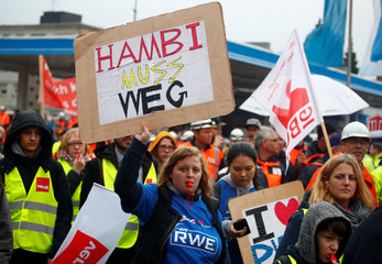 Employees of German utility RWE protest to keep their jobs in the Rhenish lignite mining area, in Bergheim