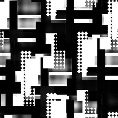 Seamless pattern urban design. Black and white print with halftone dots and squares. Watercolor effect. Suitable for bed linen, leggings, shorts and fashion industry.