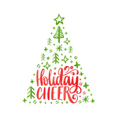 Handwritten phrase Holidays Cheer. Vector Christmas spruce illustration on white background.