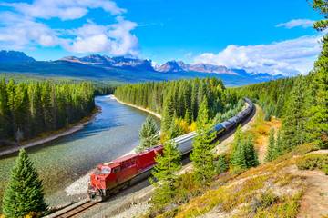 Printed roller blinds Canada Train passing famous Morant's curve at Bow Valley in autumn ,Banff National Park, Canadian Rockies,Canada.