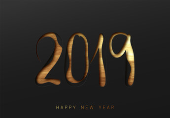 2019 Happy New Year. Black and gold embossed paper effect.