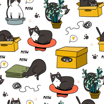 Cute cat hiding in various objects. Hand drawn colored vector seamless pattern