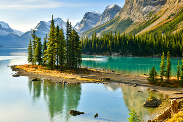 Wall Mural - View Beautiful Spirit Island in Maligne Lake, Jasper National Park, Alberta, Canada