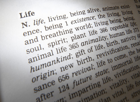 CLOSE UP OF DICTIONARY PAGE SHOWING DEFINITION OF THE WORD LIFE