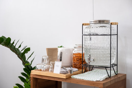 Drinking water and snacks set in cafe